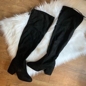 Faux Suede Black Knee High Block Heel Boots